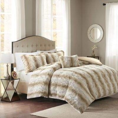 Madison Park Zuri Faux Fur Full/Queen Duvet Cover Set in Sand