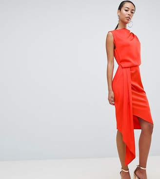 Asos Tall DESIGN Tall satin drape midi dress with sash detail