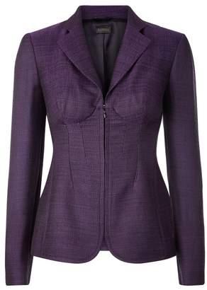 La Perla Essentials Purple Jacquard Zip Front Corset Jacket With Built-In Bra