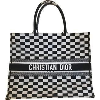 Christian Dior Book Tote Black Cloth Handbag