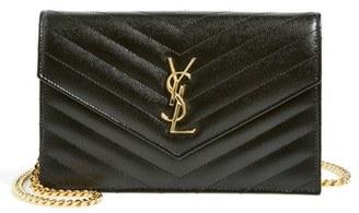 Women's Saint Laurent 'Small Mono' Leather Wallet On A Chain - Black $1,275 thestylecure.com