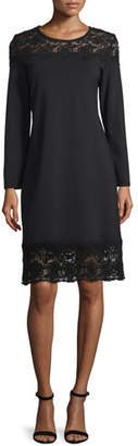 Magaschoni MAG by Long-Sleeve Lace-Inset Sheath Dress, Black Lace