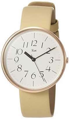 9ab3d1dd06 [リキ]RIKI 腕時計 RIKI ホワイト文字盤 フルアラビア表記 ベージュ牛革バンド カーブ