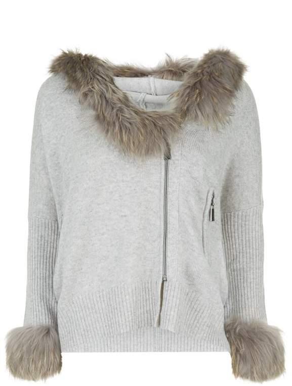Max & Moi Fur Trim Niagara Hooded Cardigan