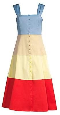 STAUD Women's Ariel Colorblock Cotton Midi Dress