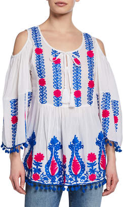 Nordic Pure Embroidered Pom-Pom Cold-Shoulder Top