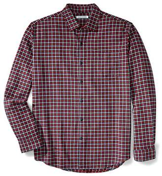Amazon Essentials Men's Regular-Fit Long-Sleeve Plaid Flannel Shirt, Red Plaid