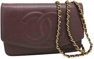 Chanel Vintage Wallet on Chain Brown Leather Handbag