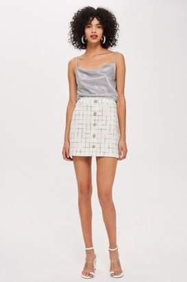 Topshop Crystal Trim Boucle Mini Skirt