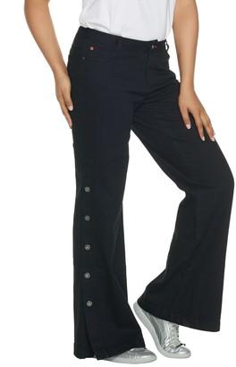 Peace Love World Petite Denim Button Side Full Length Pants