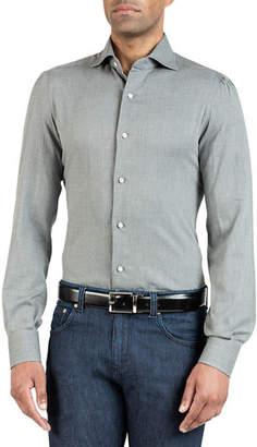 Isaia Men's Solid Chambray Sport Shirt