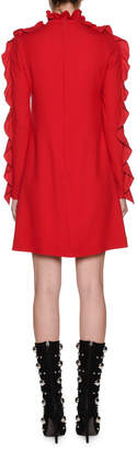 Giambattista Valli Ruffled Long-Sleeve Mini Shift Dress w/ Bow Details
