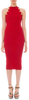 Balmain High-Neck Ribbed Bodycon Dress
