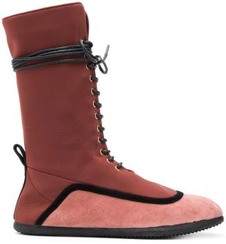 L'Autre Chose two-tone lace-up boots