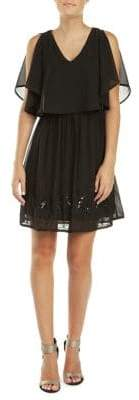 Dex Sequined Mesh Overlay Fit--Flare Dress
