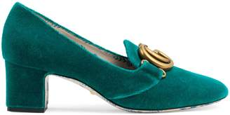 Gucci Velvet mid-heel pump with Double G