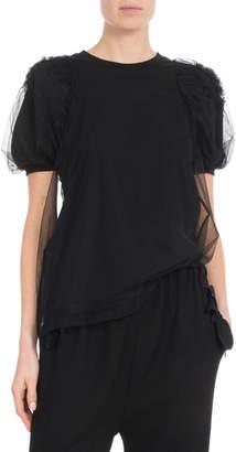 Simone Rocha Short-Sleeve Ruched Flower Tulle Blouse