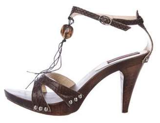 Kenzo Leather Ankle Strap Sandals silver Leather Ankle Strap Sandals