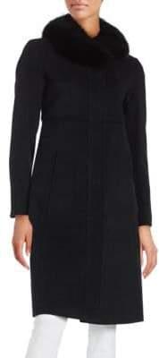 Ellen Tracy Fox Fur-Trimmed Walker Jacket