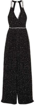 Jenny Packham Twyla Crystal-embellished Silk-chiffon Jumpsuit - Black