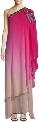 Dundas One-Shoulder Ombre Chiffon Caftan w/ Bird Embroidery