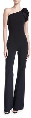 Chiara Boni Harry One-Shoulder Wide-Leg Jersey Jumpsuit w/ Rose Details