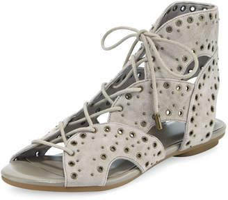 Joie Fabienne Lace-Up Flat Sandal, Gray