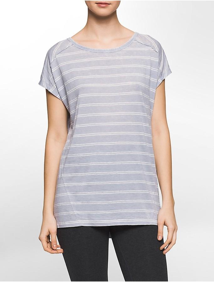 Performance Striped Keyhole Back Cap-Sleeve T-Shirt