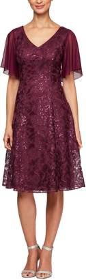 Alex Evenings Flutter Sleeve Sequin Lace A-Lined Dress