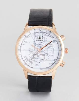 Asos Watch In Black And Rose Gold With Technical Sketch Design