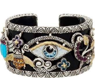 Barbara Bixby Sterling & 18K Multi-Gemstone Egyptian Hinged Cuff