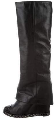 Chanel CC Chain-Link Knee-High Boots