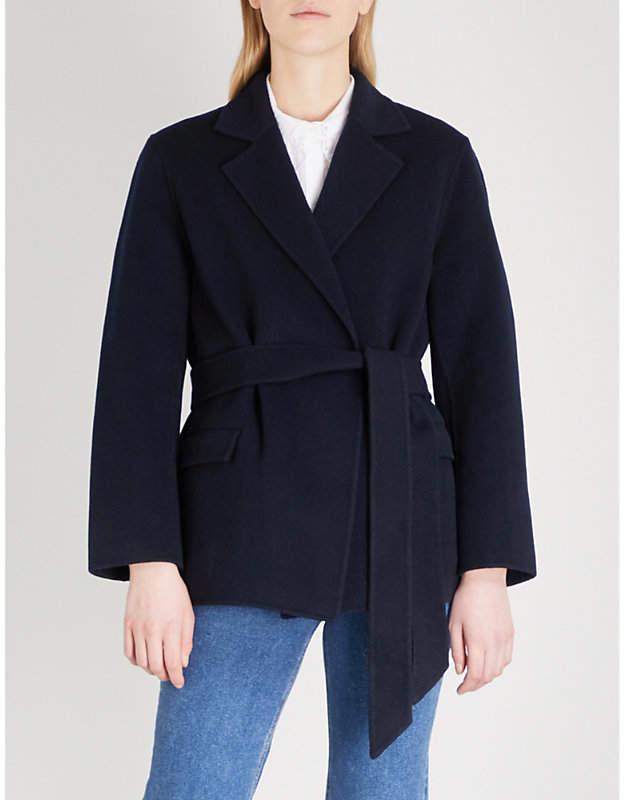 Notch-lapel wool-blend wrap jacket