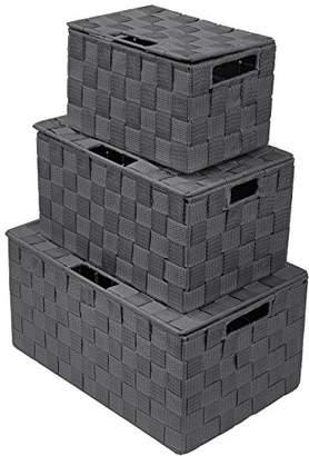 Sorbus Storage Box Woven Basket Bin Container Tote Cube Organizer Set Stackable Storage Basket Woven Strap Shelf Organizer Built-in Carry Handles (Lid Woven Basket Set - 3 Piece