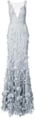 Marchesa Notte 3D floral plunge gown