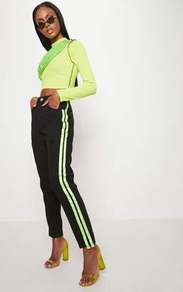 PrettyLittleThing Black Satin Side Stripe Mom Jeans