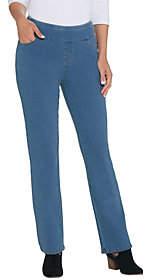 Denim & Co. D&Co. Petite Comfy Knit Smooth Waist LightlyBoot-Cut Jeans