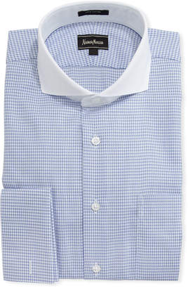 Neiman Marcus Dobby Check Dress Shirt, Blue