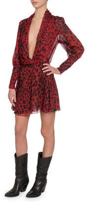 Redemption Leopard-Print Plunge-Neck Long-Sleeve Drapey Mini Dress