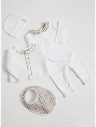 Burberry Check Detail Four-piece Baby Gift Set