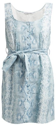 Emilia Wickstead Python Print Belted Linen Dress - Womens - Blue Print