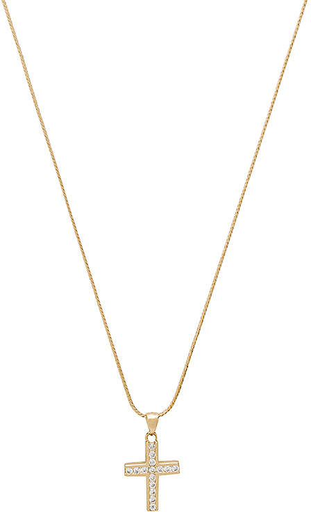 The Marcella Gold & Crystal Cross Charm Necklace