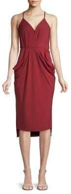 BCBGMAXAZRIA Faux-Wrap Midi Dress