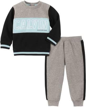 Calvin Klein Baby Boy's 2-Piece Colourblock Cotton-Blend Fleece Sweatshirt Jogger Pants Set