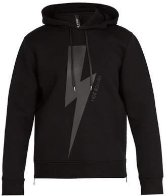 Neil Barrett Lightning Bolt Jersey Hooded Sweatshirt - Mens - Black