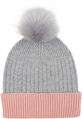 Accessorize Contrast Turn Up Faux Fur Pom Beanie Hat