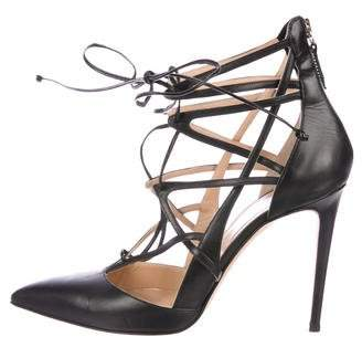 Saks Fifth Avenue Lace-Up Pointed-Toe Pumps