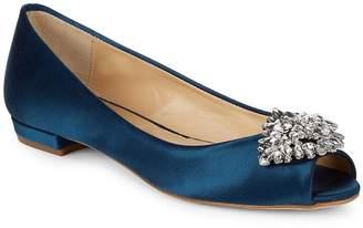 Badgley Mischka Women's Taft Open-Toe Leather Flats