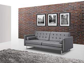 Whiteline Contemporary Modern SO1195P-GRY Giovanni Faux Leather Sofa Bed with Stainless Steel Legs