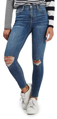 Women's Topshop Moto Jamie Ripped High Waist Ankle Skinny Jeans $75 thestylecure.com